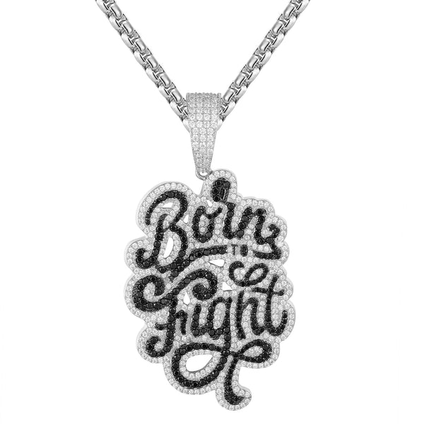 Sterling Silver Born to Fight Icy Hustler Bling Custom Pendant