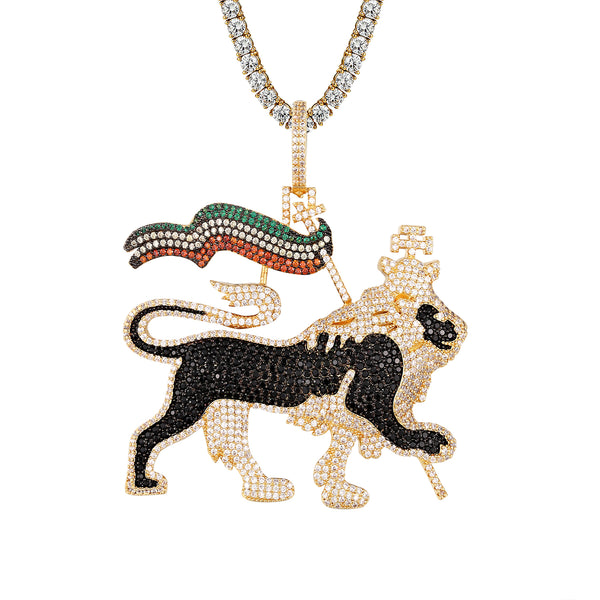 Ethiopian Lion Animal Imperial Flag Bling Mens Pendant