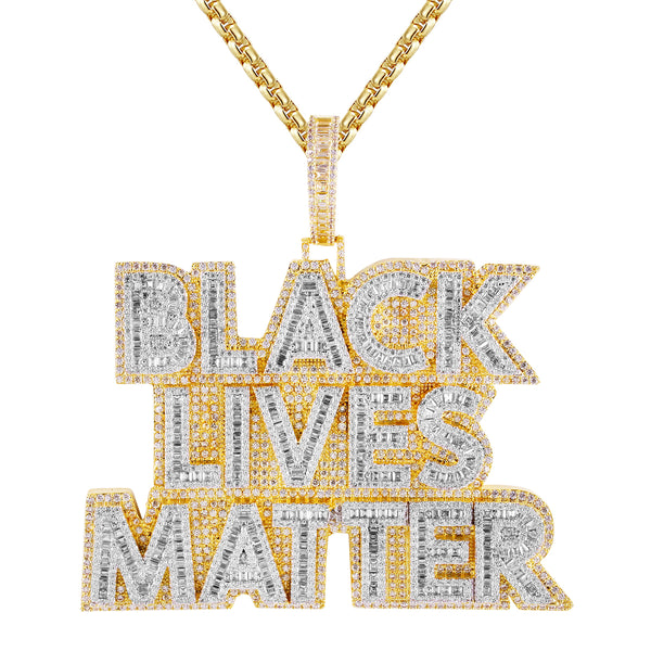 Gold Tone Black Lives Matter Baguette Layer Icy Pendant