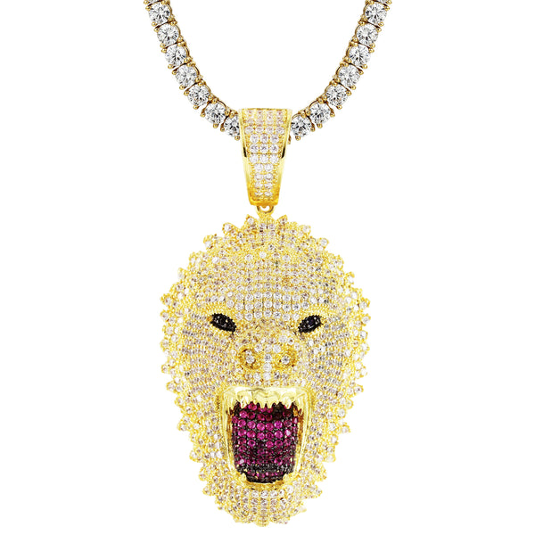 Mens Gold Finish Growling Gorilla Bling Rapper Silver Pendant