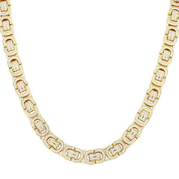 Gold Finish Men's  Byzantine Link Custom Real Silver Chain