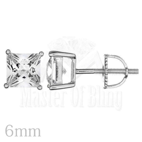 Unisex Simulated Lab Solitaire Silver Stud Earrings