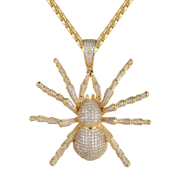 14k Gold Finish Spider Micro Pave Hip Hop Pendant Necklace