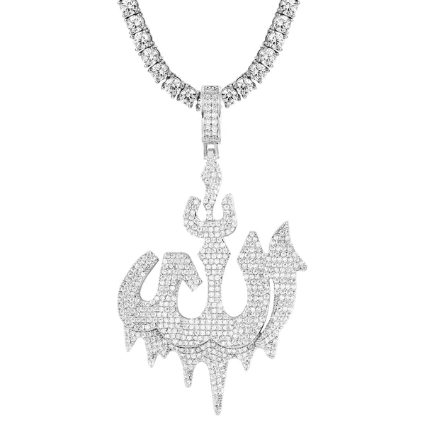 Religious Muslim God Icy Dripping Allah Pendant Free Box Chain