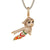 Astro Boy Animated Character Gold Finish Micro Pave Pendant