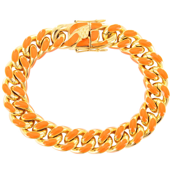 Orange Miami Cuban Enamel Link Gold Tone Steel Bracelet