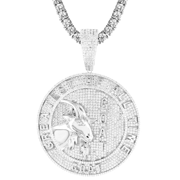 Silver GOAT Big Circle Medallion Animal Face Bling Rapper Pendant