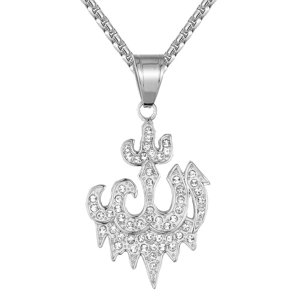 Steel Muslim God Allah Arabic IcedOut Religious Pendant