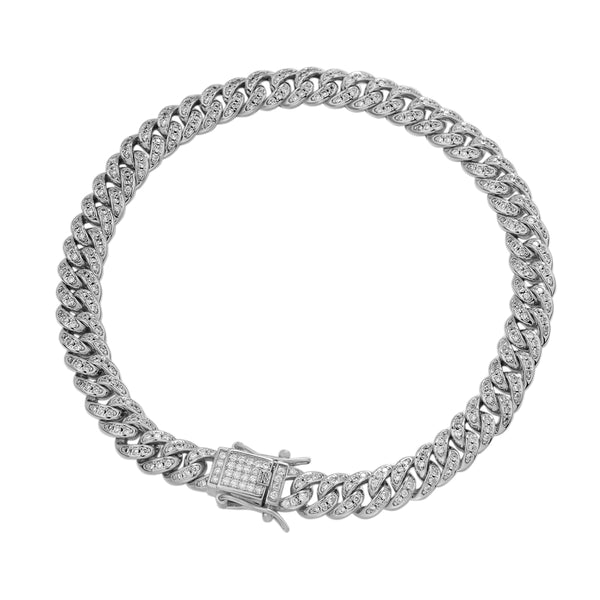 Mens Bling Miami Cuban Link Rapper 6MM 925 Silver Bracelet