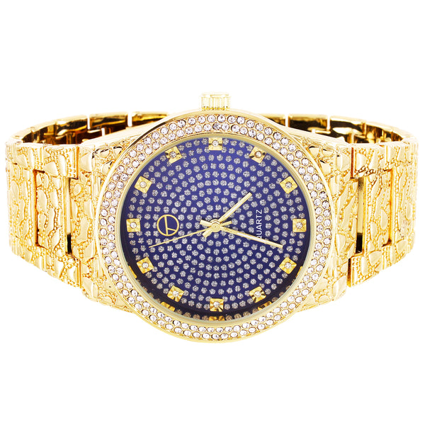 Mens Blue Bling Face Bezel Nugget Band Techno Pave Watch
