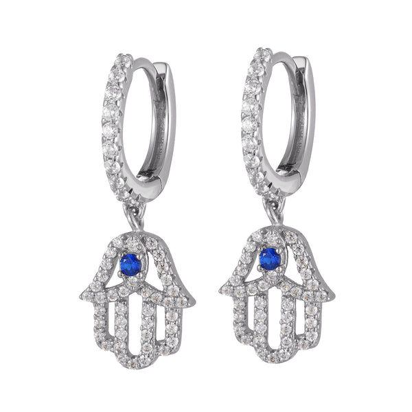 Silver Hamsa Hand Dangling Hoops Micro Pave Earrings