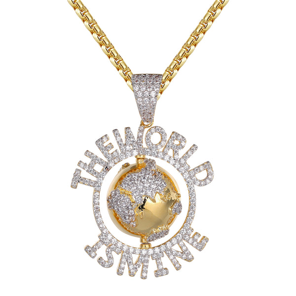 Mens The World Is Mine Spinner Globe Hip Hop Pendant Free Chain