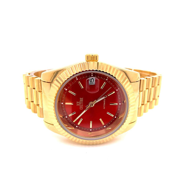 Steel Fluted Bezel Red Face Dial Automatic Movement Watch