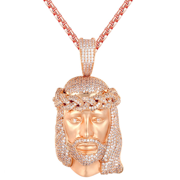 Rose Gold Matte Tone Jesus Head Bling Crown Holy God Pendant