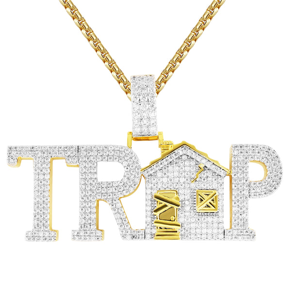Gold Finish Trap House Bling Rapper Pendant Free Box Chain