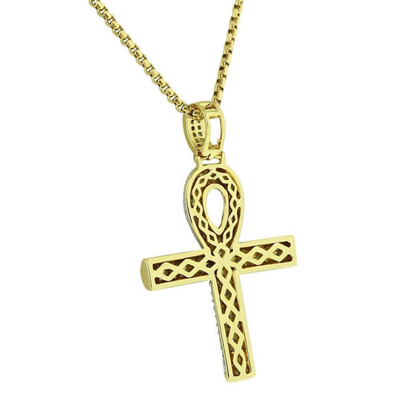 Ankh Cross Pendant Iced Out Hip Hop Symbol Of Life Gold Finish Free Necklace