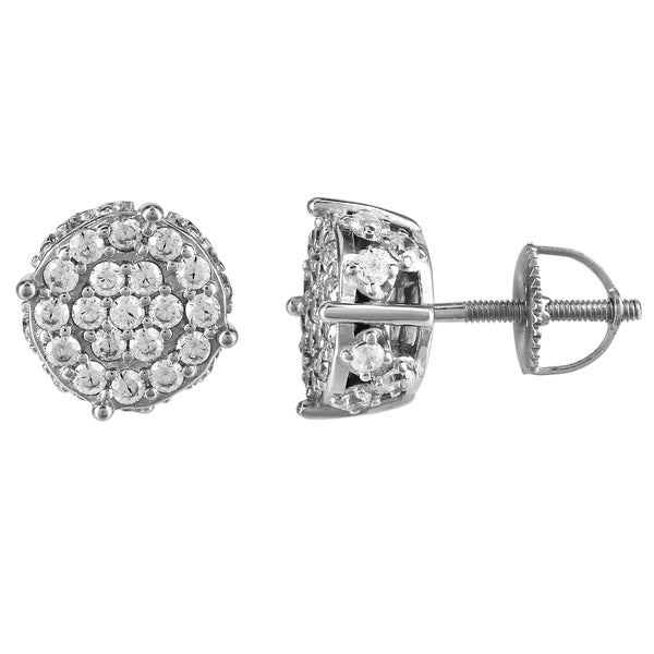 Sterling Silver Round 3D Icy Solitaire Screw Back Stud Earrings