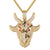 Gold Finish Goat Face Sterling Silver Greatest Of All Time Icy Pendant