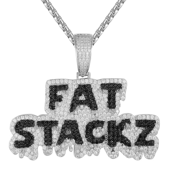 Mens Dripping Fat Stackz Rich Money Icy White Pendant Chain