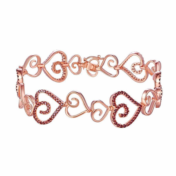 Rose Gold Over Sterling Silver Womens Heart Link Bracelet