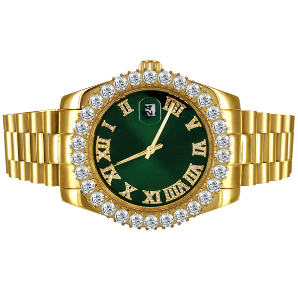 Green Roman Dial Solitaire Bezel 41mm Stainless Steel Watch