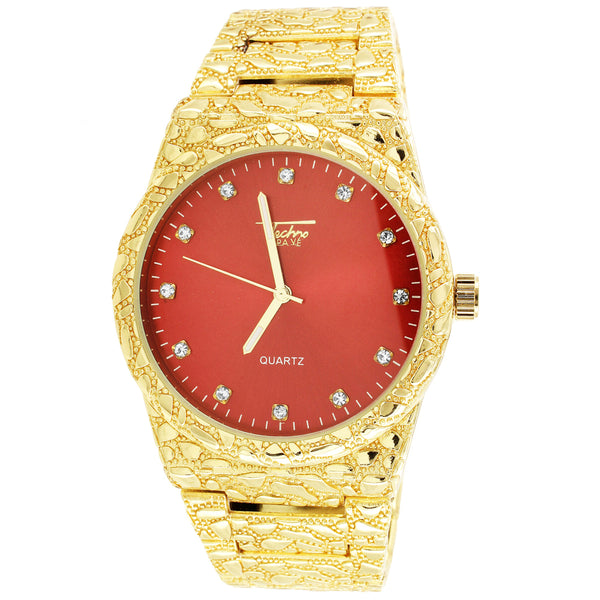 Mens Nugget Style Red Face Techno Pave Gold Finish Watch