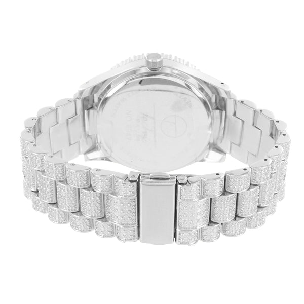 Men's Silver Tone Solitaire Bezel Custom Watch