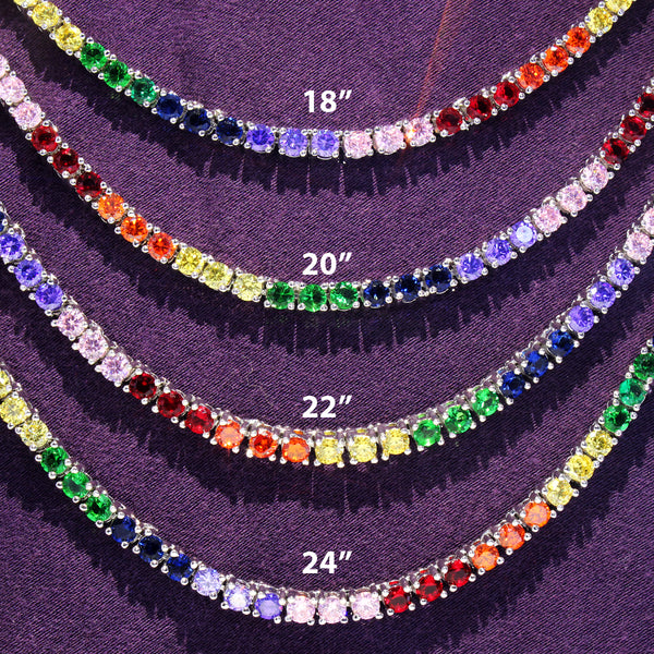 Multi Color Rainbow 3MM One Row Hip Hop Tennis Necklace