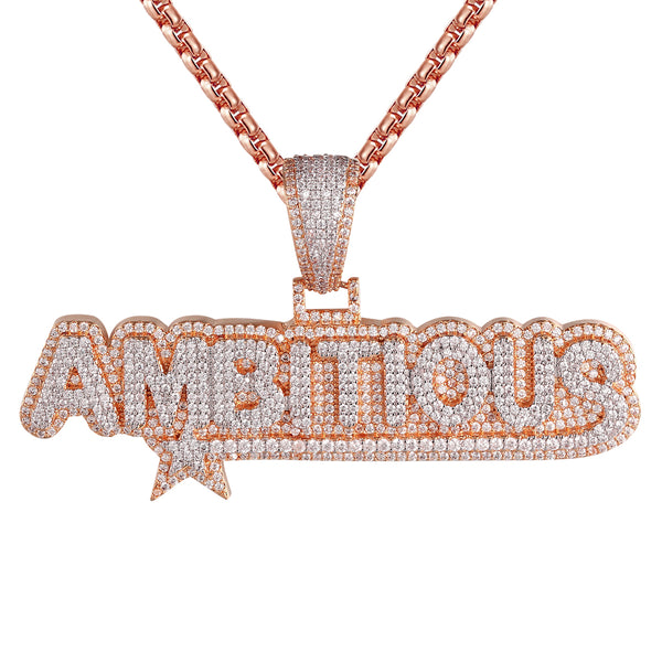Rose Gold Finish Ambitious Designer Star Icy Pendant Chain