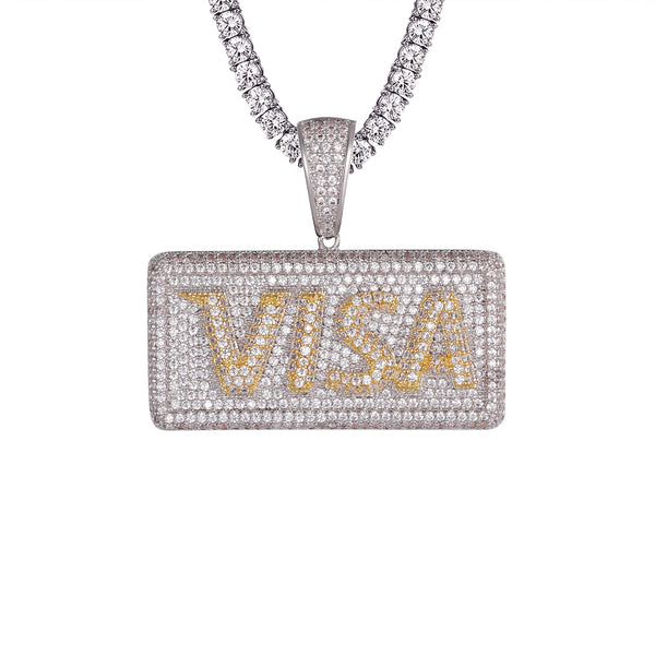 Bling Visa Card Two Tone 14k White Gold Finish Rapper Pendant