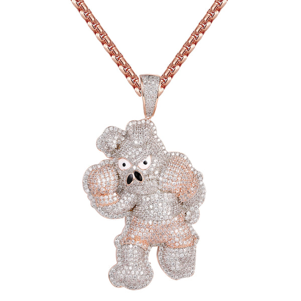Boxing Pig Rose Gold Finish Hip Hop Animal Pendant Chain