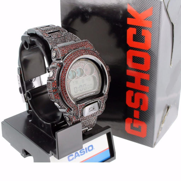 G Shock DW6900 Ruby Red Lab Diamond Digital Metal Band