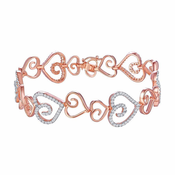 Sterling Silver Heart Bracelet Ladies Rose Gold Over Sterling Silver
