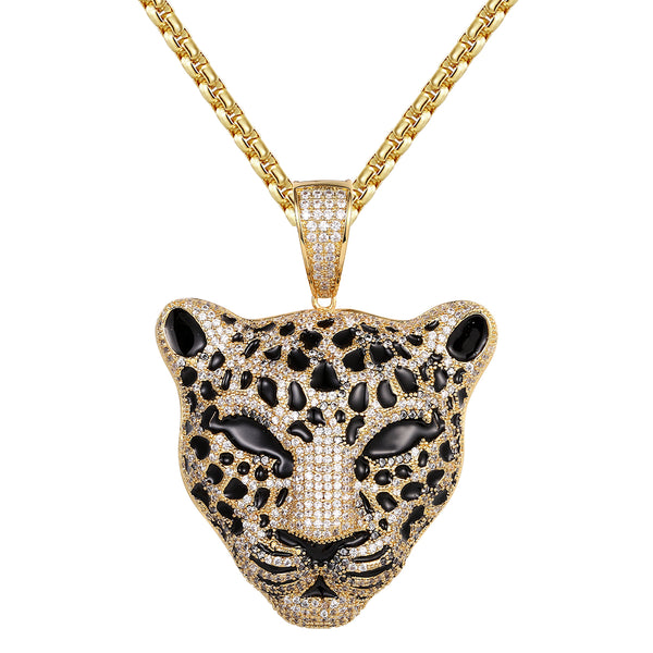 Custom Panther Face 14k Gold Finish Hip Hop Icy Animal Pendant