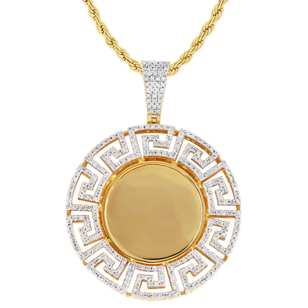 10K Gold Greek Style Diamonds Picture Memory Photo Pendant