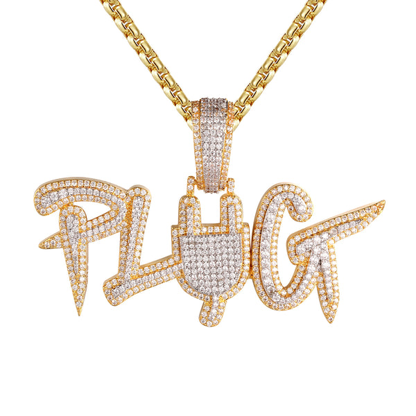 Two Tone Plug Switch Micro Pave Gold Finish Silver Pendant Chain
