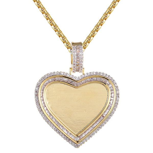 Heart Shape Baguette Micro Pave Row Picture Frame Memory Pendant