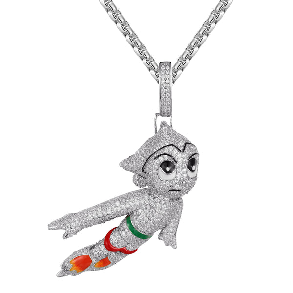 Mens Bling Astro Boy Cartoon Character Pendant Free Box Chain