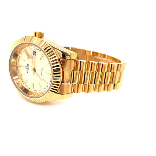 Stainless Steel Fluted Bezel Adjustable Links Wrist Watch