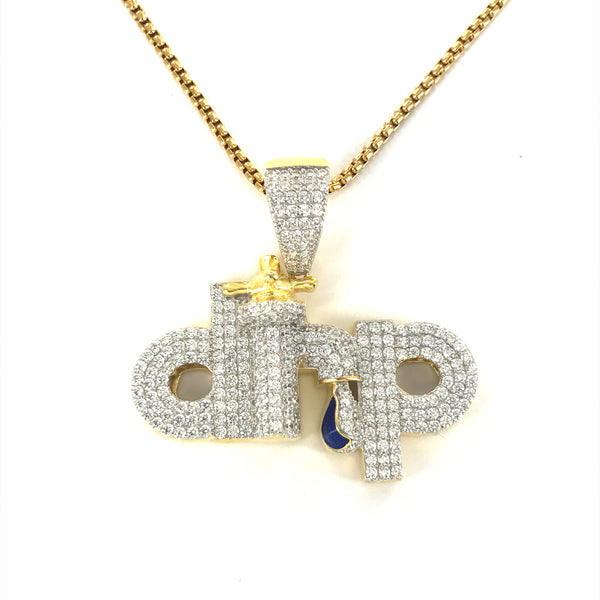 Mens Drip Tap Bling Gold Tone Rapper Pendant Chain