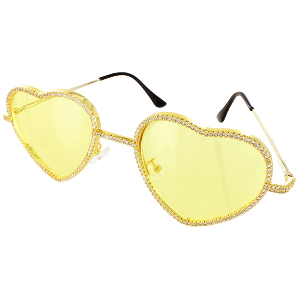Bling Heart Love Shape Yellow Frame Rapper Style Shades