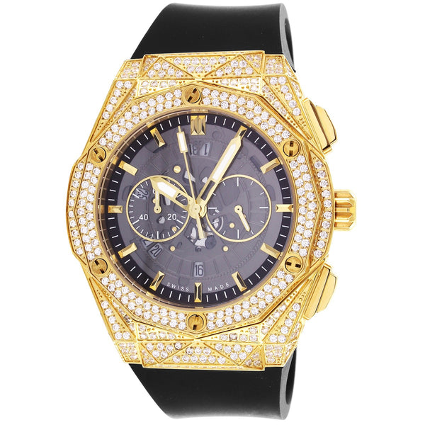 Men's Custom Gold Tone Bling Bezel Steel Silicone Band Watch