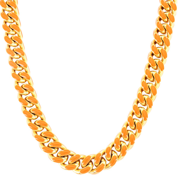 Designer Orange Enamel Stainless Steel Miami Cuban Necklace Chain
