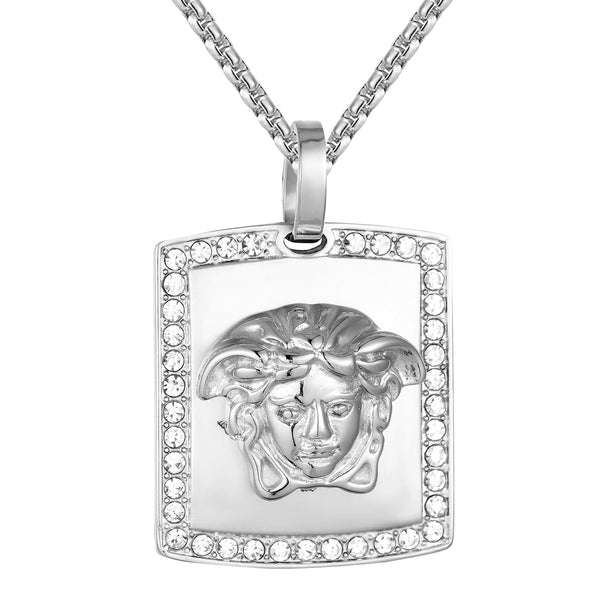 Medusa Head Dog Tag Simulated Diamonds Steel Pendant