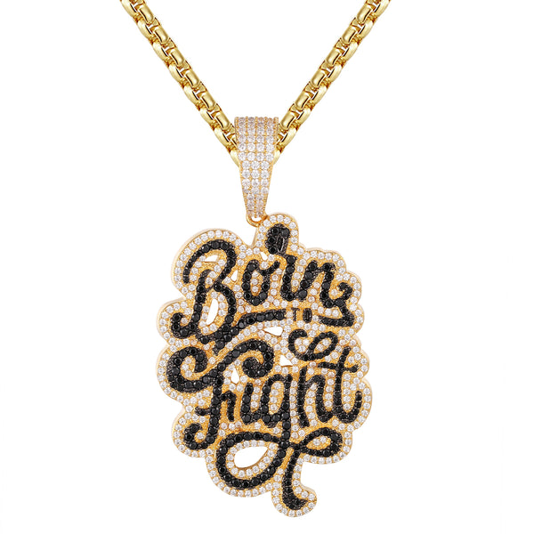 Custom Born to Fight Bling .925 Gold Tone Hip Hop Pendant