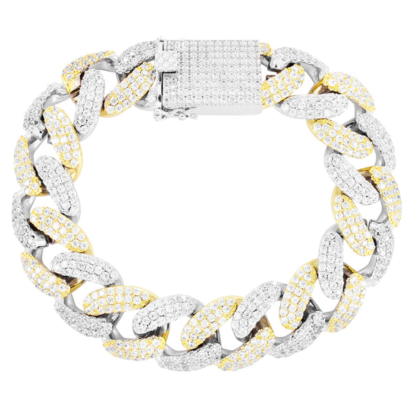 Men's Two Tone Miami Cuban Link 18mm Micro Pave  Bracelet