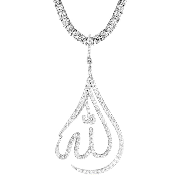 Religious Allah Tear Drop Shape Arabic Islamic Bling Pendant