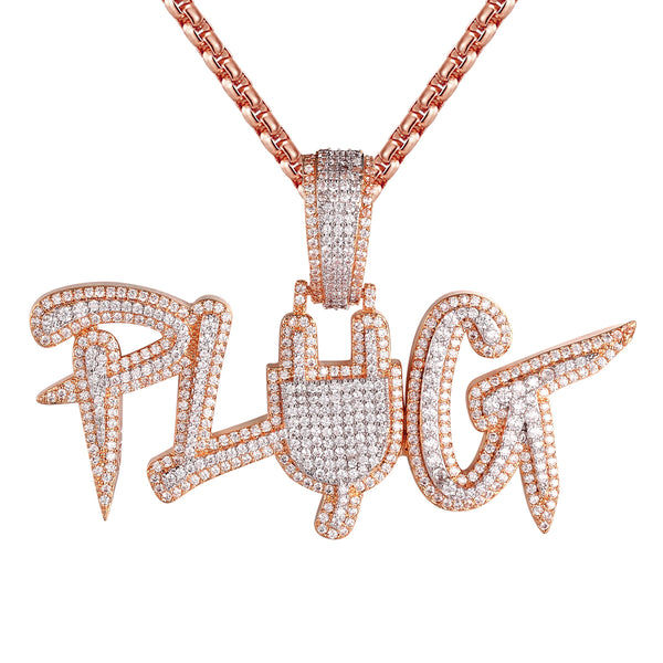 Plug Switch Rose Gold Finish 3D Two Tone Bling Silver Charm