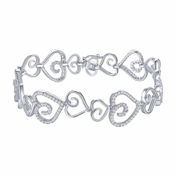 Women Heart Link Bracelet White Gold Over 925 Silver