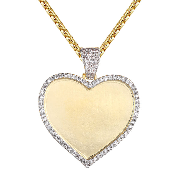 Gold Tone Heart Love Shape Photo Frame Custom Pendant